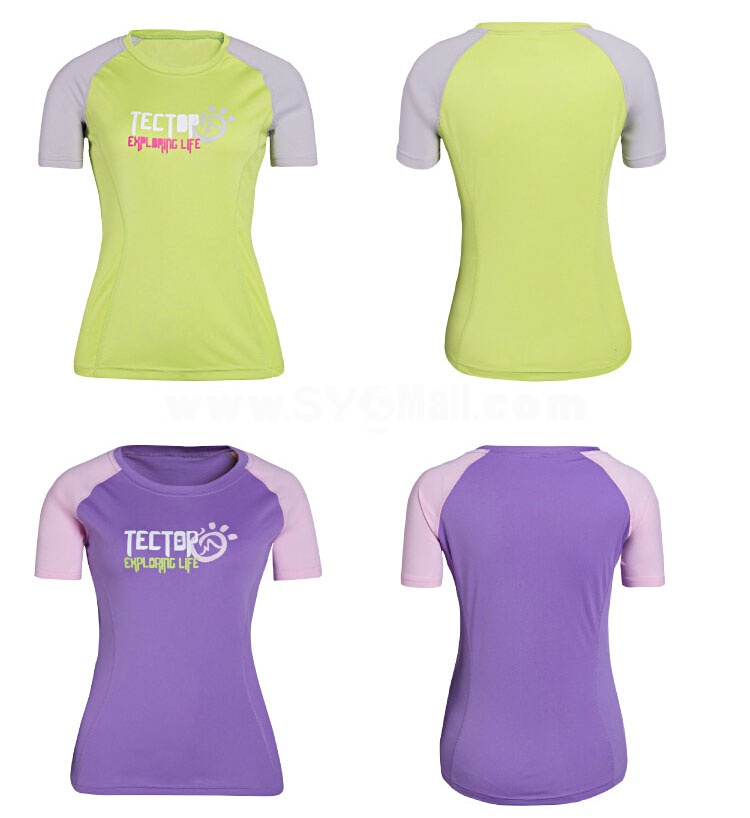 Women Breathable Sun Protection Clothing Quick-Dry Short Sleeve Shirt 3066