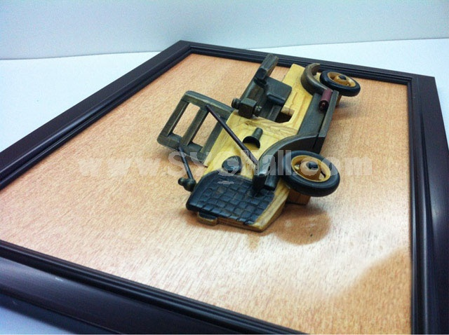 Handmade Wooden Home Decoration Vintage Car Cameo Photo Frame Gift Frame 001