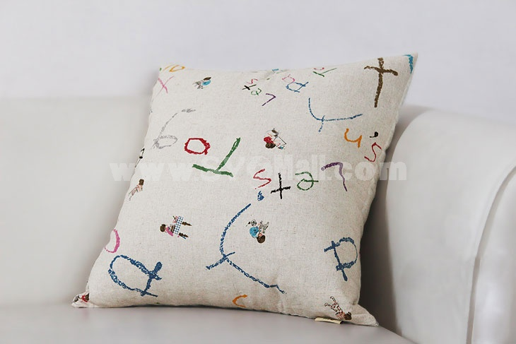 Home/Car Decoration Pillow Cushion Inner Included -- Scrawling Letters