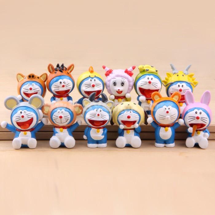 Animal Pattern Doraemon Figure Toys Action Figures 12pcs/Lot 2.0inch