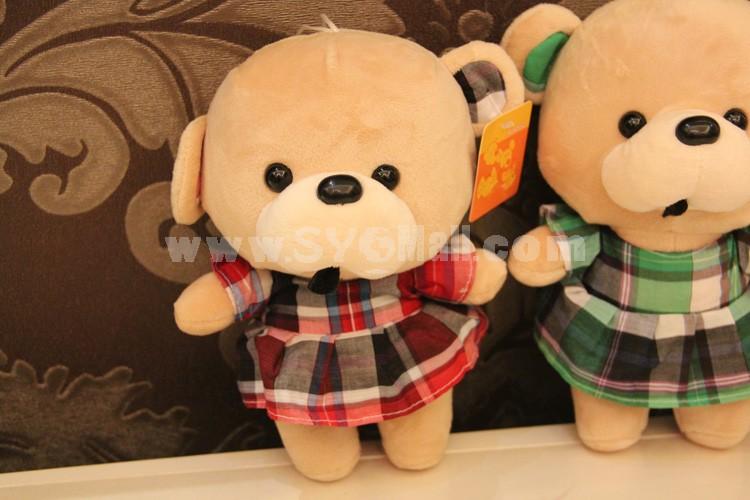 "Cute Plaid Skirt Bear 12s Recording Doll Plush Toy 18cm/7"""