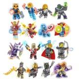 wholesale - 16Pcs Lego Compatible Super Heroes Iron Man Captain America Thanos Crystal Building Blocks Mini Figure Toys MG111