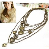 Wholesale - Vintage Multilayed Necklace with peach Hearts Pendants (TF153)