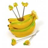 Wholesale - Creative Kitchen Goods Banana Resin & Stainless Steel Fruit Fork