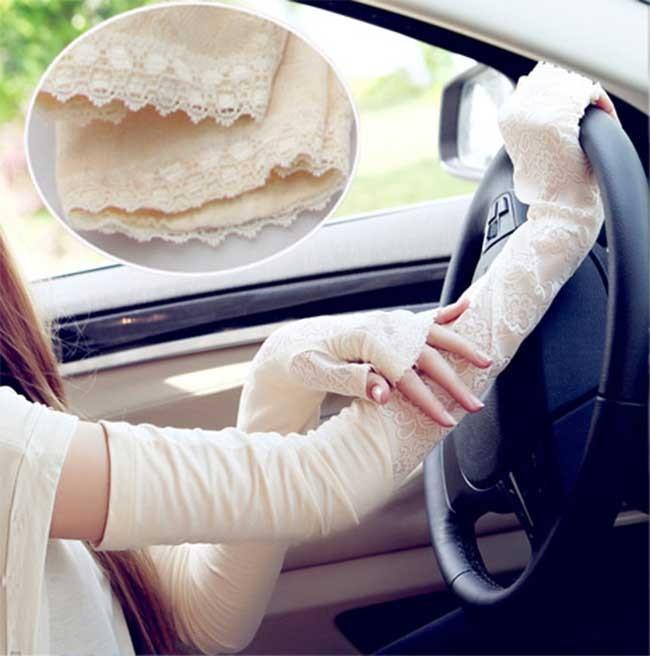 Sunscreen Lace Pattern Women Gloves Ultraviolet-Proof Modal (P2759)