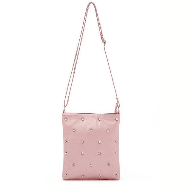 Simple Sweets Color Punk Style Rivet Decoration Shoulder Bag