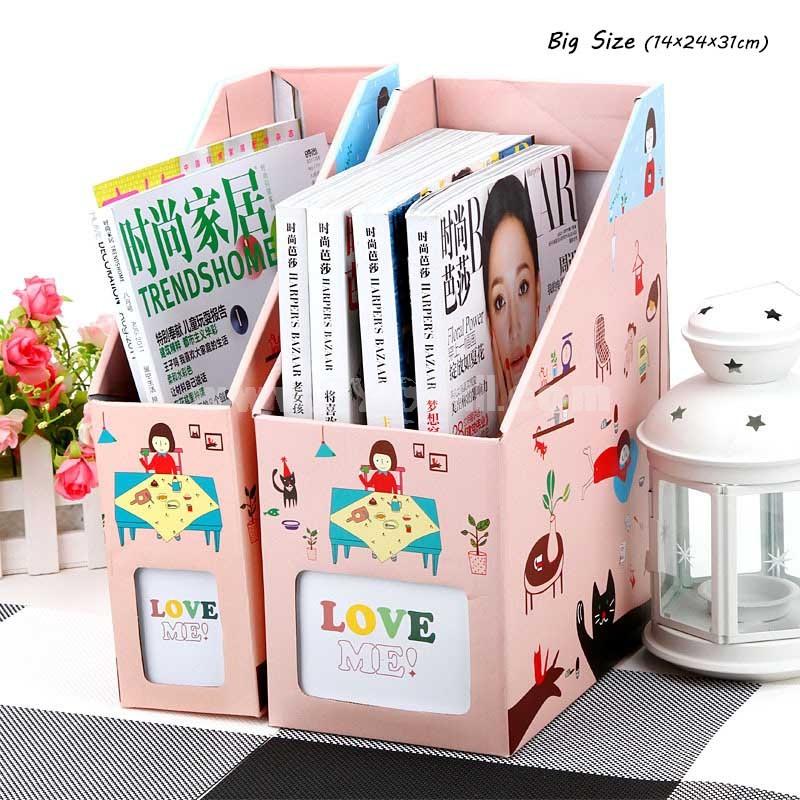 Desk Top Document Storage Box Cartoon Girl Lovely Big Size (E9144)