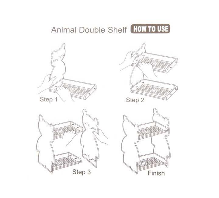 Desktop Storage Box Cartoon Animal Double-Layer ABS (E9094)