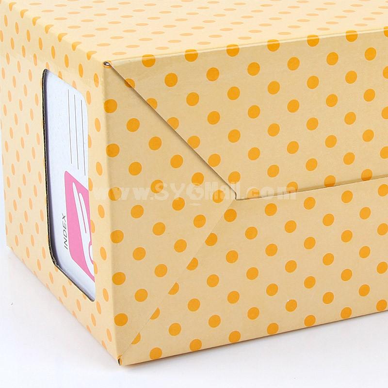 Desktop File Storage Box Dots Design Yellow Paper DIY (W1168)