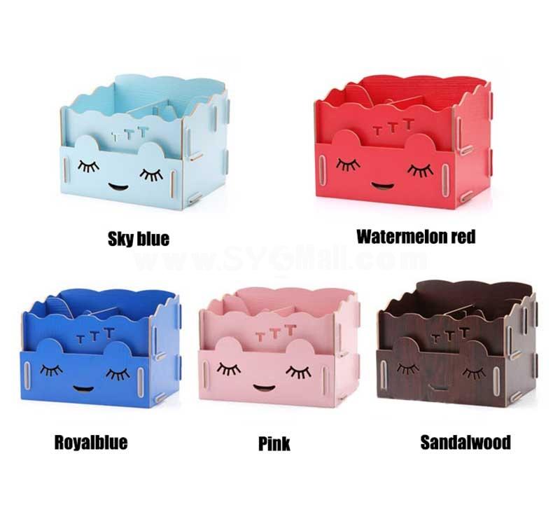 Desktop Storage Box Cosmetics Box Pull-Out Design Wooden Girl Face DIY (SN2024)
