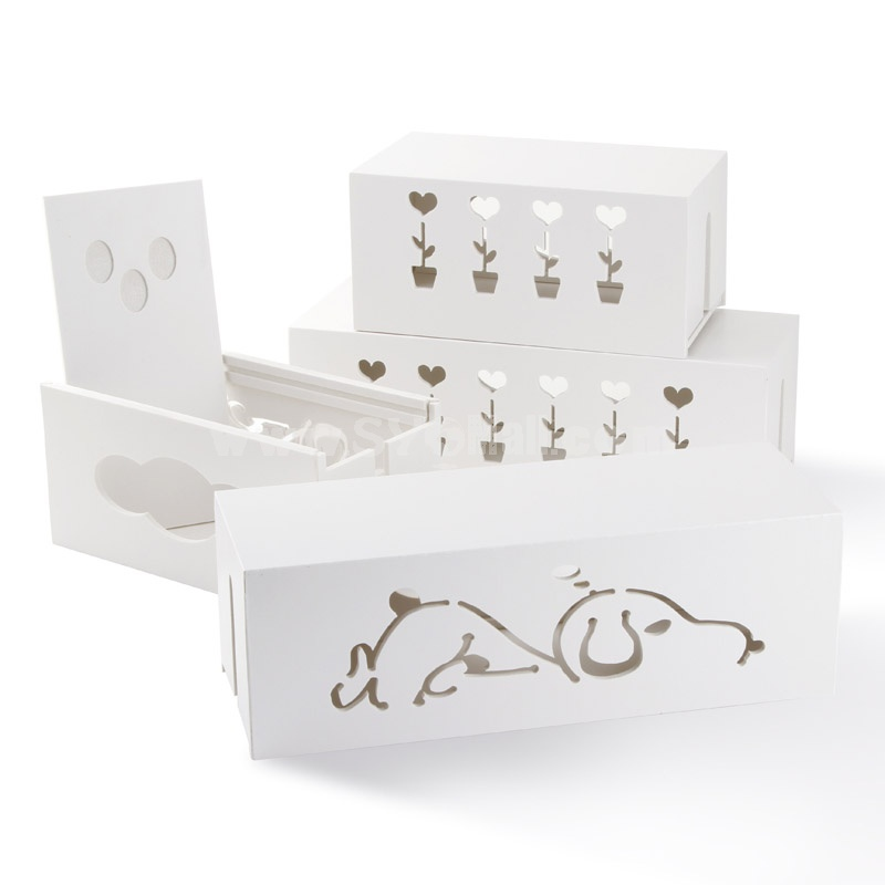 Carved Storage Box for Power Cord Wood White (K0802)