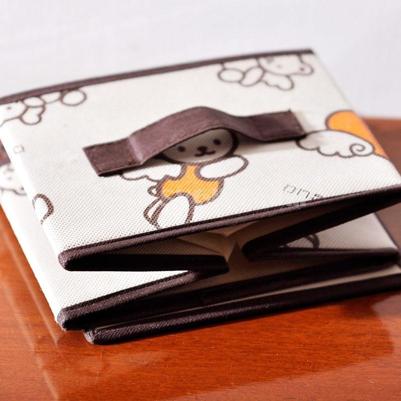 Storage Box Sundries Box Cartoon Bear Style Foldable Non-Woven Fabric Beige (SN082)