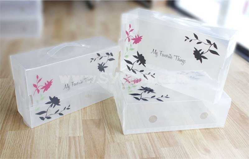 Storage Box for Shoes Transparent Blossoms Printing Style Six-In-One (SN1295)