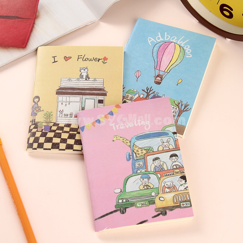 Mini Notebook Notepad Cartoon Illustration Style Soft Cover 5-Pack (W2091)