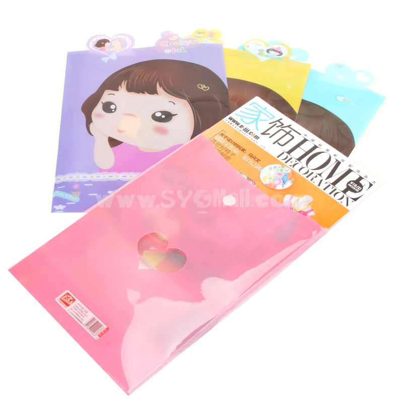Storage Bag/Pouch for Files/Magnizes Lovely Girl Cartoon PVC 5-Pack (K0405)