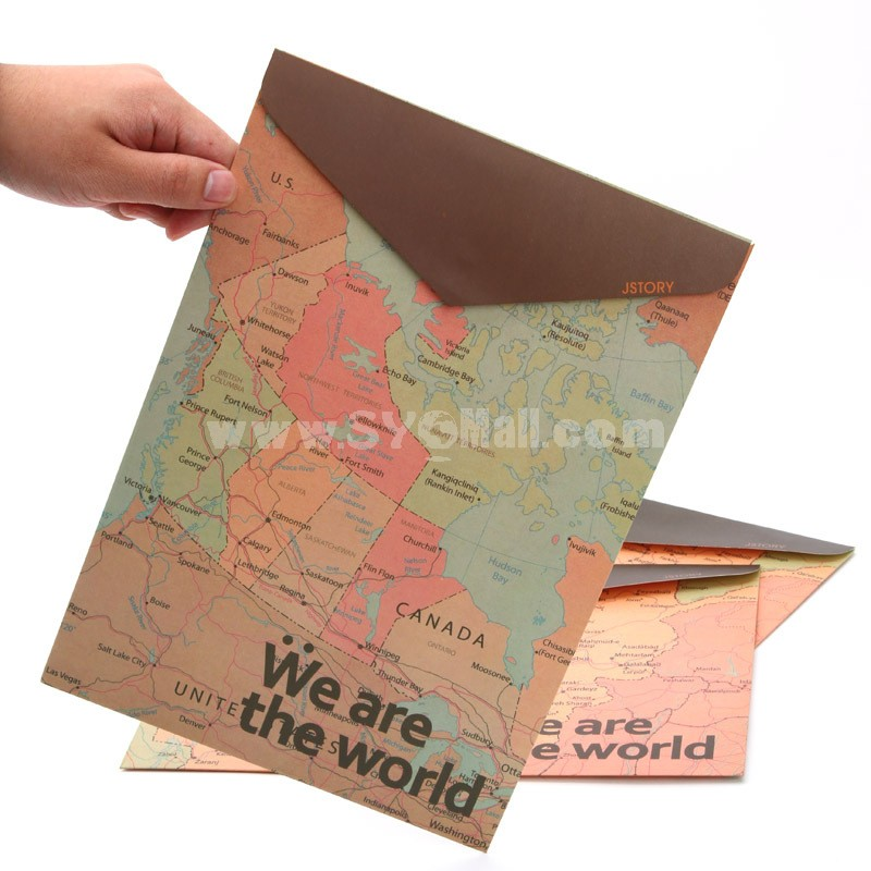 Storage Bag/Pouch A4 Creative Map Style Paper 5-Pack (W1955)