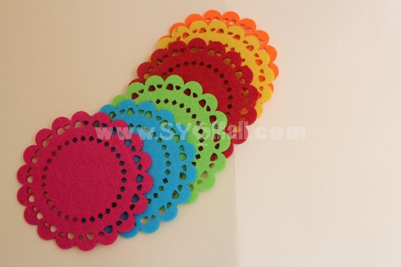 Stylish Non-woven Round Coaster 2PCs