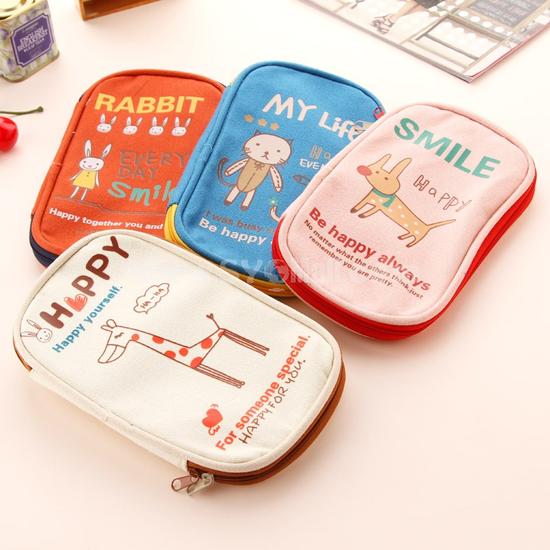 Storage Bag/Case/Purse for Mobilephone/Cards/Stationary Multi-Purpose Cartoon Animal Design Canvas (W2112)