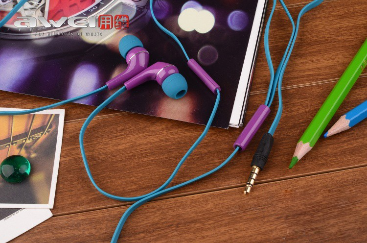 AWEI ES-Q7i Colorblock Headphones Earphones Headsets For iPhone Mp3 Mp4