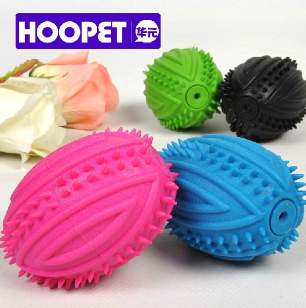 HOOPET Rugby Shaped Tooth Cleaning Chew Ball with Sound Pet Toy