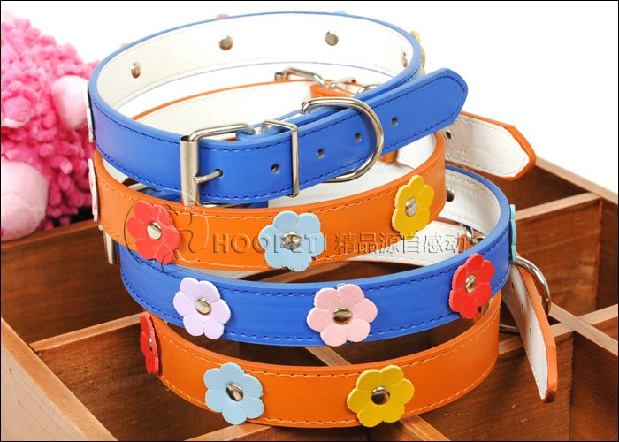 Soft PU Collar for Small Dogs/Cats Flower Pattern
