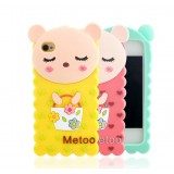 Wholesale - Lovely Heart Pattern Bear Silicone Case for iPhone4/4s