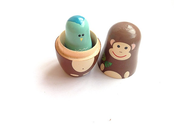5pcs Russian Nesting Doll Handmade Wooden Cute Cartoon Animals Pattern