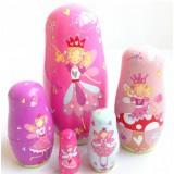 wholesale - 5pcs Russian Nesting Dolls Purple Angel Girls Handmade Wooden Russian Doll
