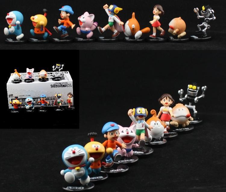 Doraemon & Nobi Nobita Figure Toy Garage Kit 6cm/2.4inch 9pcs/Lot