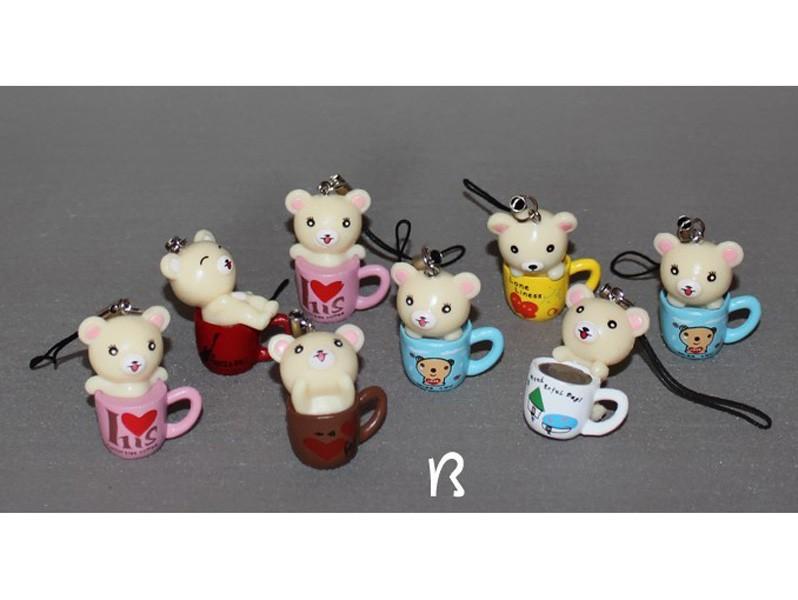 """White Rilakkuma Figures Toys Pendants 4cm/1.6"""" 8pcs/Kit"""