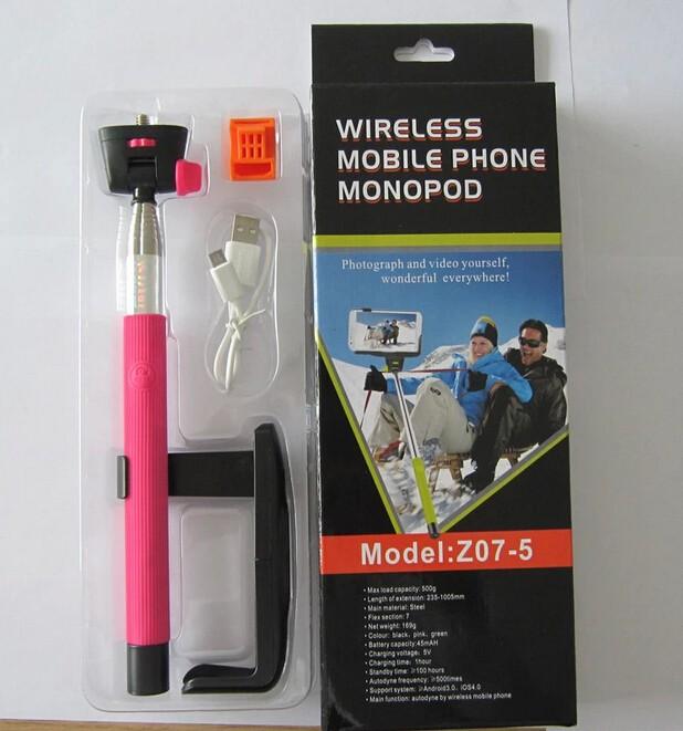 Wireless Bluetooth Mobile Phone Monopod with Clip Self-Portrait Monopod