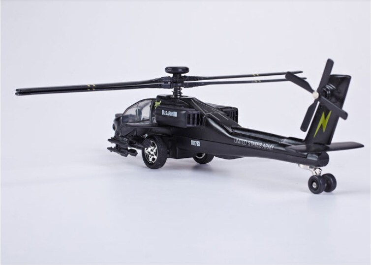 Diecast Metal Fighter Plane Model Aircraft Model with Sound & Light Effect AH-64A Apache Attack