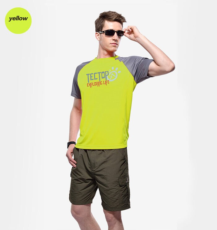 Men Breathable Sun Protection Clothing Quick-Dry Short Sleeve Shirt 3065