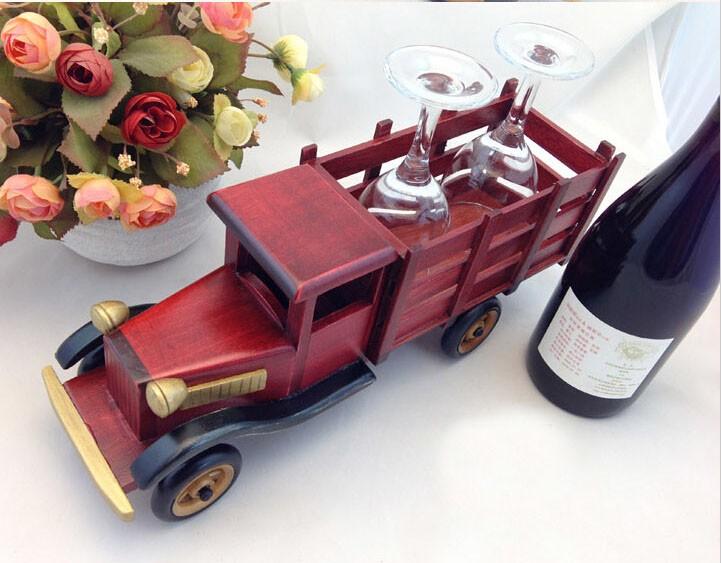 Handmade Wooden Home Decoration Truck Vintage Car Wine Holder Car Model