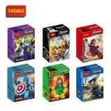 wholesale - Marvel Super Heroes Captain America Spider Man Block Mini Figure Toys 0147-0152 6Pcs Set